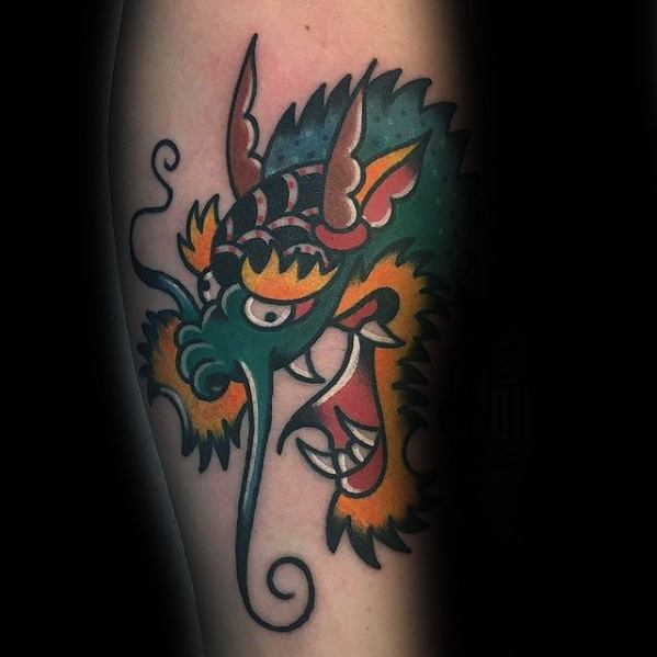 Colorful Lengan Tradtional Mens Simple Dragon Tattoo Ideas