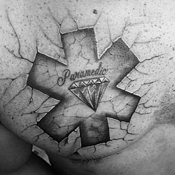Diamond With Star Of Life Mens Paramedic Upper Chest 3d Stone Tattoos