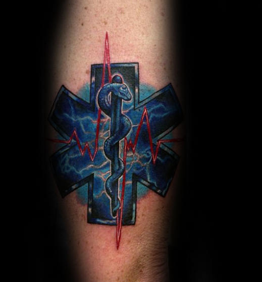 Emt Guys Star Of Life With Red Heart Beat Design Tattoo On Arm