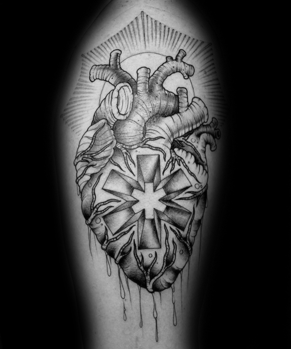 Heart With Glowing Star Of Life Unique Male Arm Tattoos