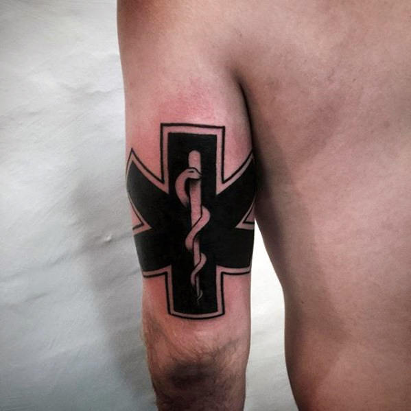 Mens Star Of Life Tricep Tattoo