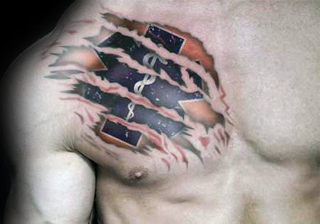 Ripped Skin Outer Space Star Of Life Upper Chest Tattoos For Guys