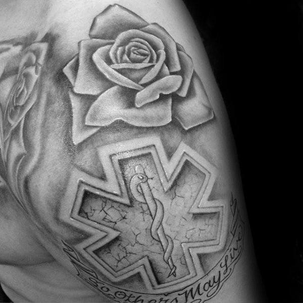 Rose Flower With Stone Star Of Life Guys Upper Arm And Shoulder Tattoo