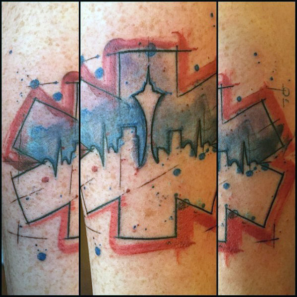 Seattle Skyline Star Of Life Mens Watercolor Forearm Tattoo
