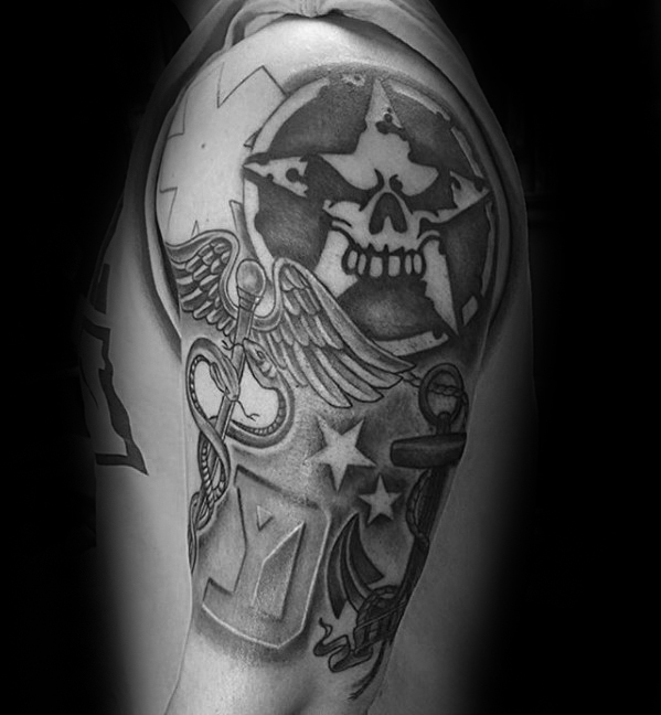 Shaded Military Star Of Life Guys Medic Arm Tattoos