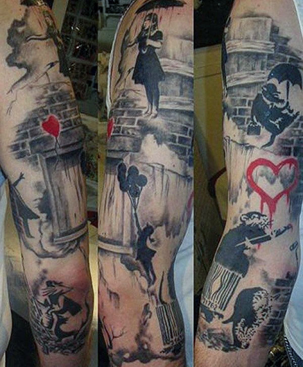 Coole Mens Banksy Motto Sleeve Tattoo