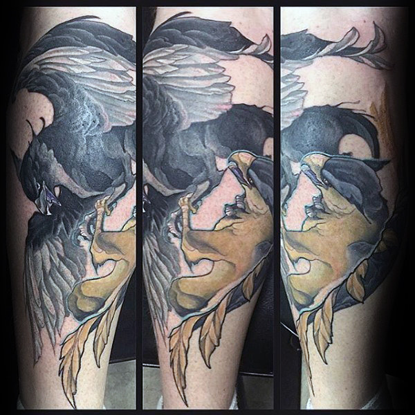 Awesome Griffin Mens Lower Leg Tattoo Inspiration