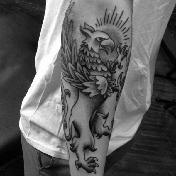 Outer Forearm Hombres Griffin Tattoo Ideas