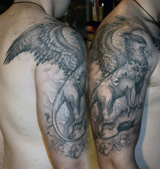 Shaded Gray Ink Griffin Hombres Half Sleeve Tattoos