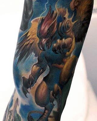 Azul y amarillo Griffin Sleeve Guys Tattoo Design Ideas