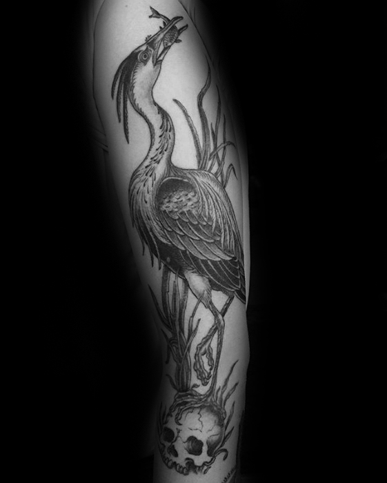 Amazing Mens Heron Bird With Skull Full Arm Tattoo Designs