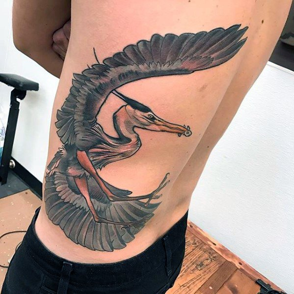 Guys Back And Rib Cage Side Giant Heron Tattoo Design Idea Inspiration