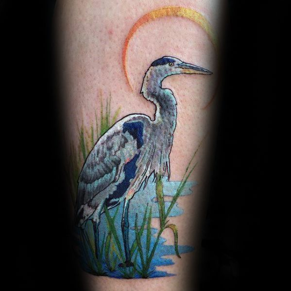 Guys Forearm Heron Water And Sun Tattoo Deisgns