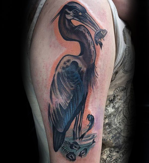 Guys Tattoo Ideas Heron Designs On Arm