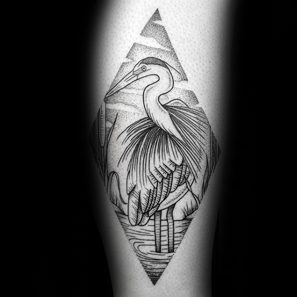 Heron Bird Tattoos Men On Inner Forearm