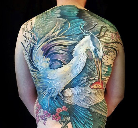 Heron Full Back Male Tattoo Designs