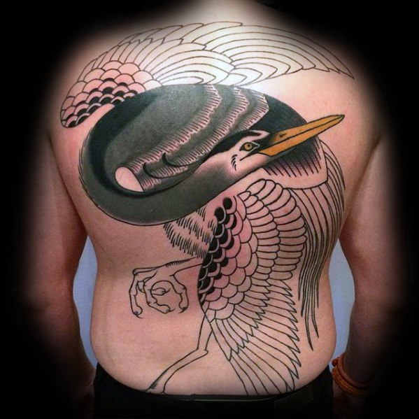 Heron Full Back Traditional Tattoo Designs On Gentleman