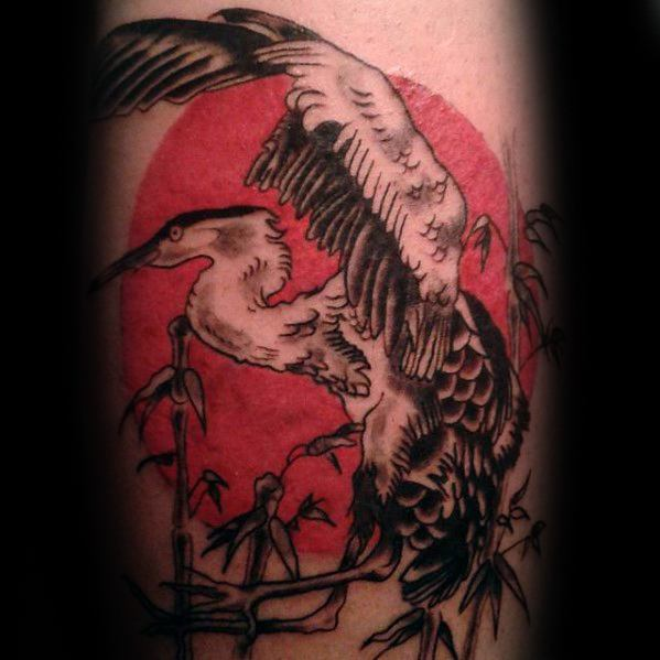 Heron Guys Tattoo Designs With Red Un On Forearm
