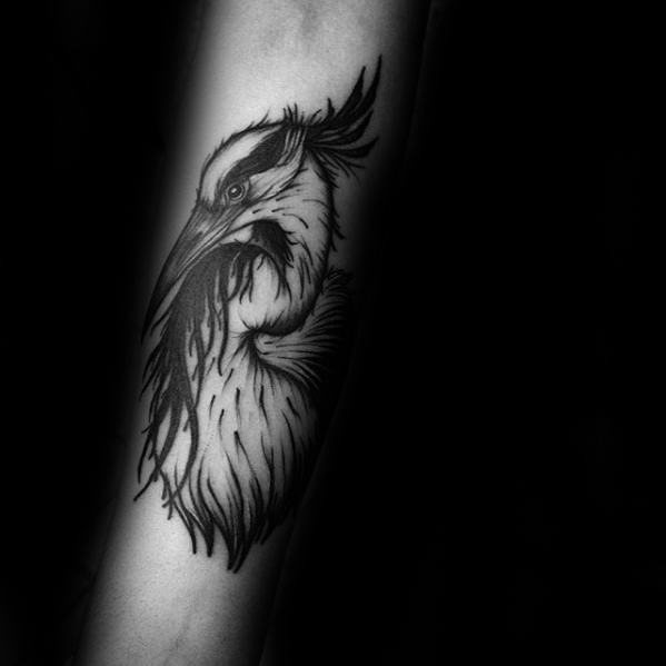 Heron Tattoo Black Ink Inner Forearm Ideas For Gentlemen