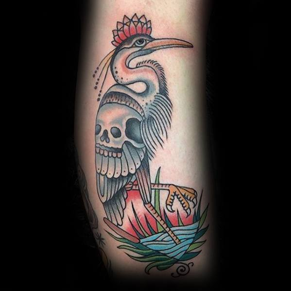 Arm Skull Heron Mens Tattoo Designs