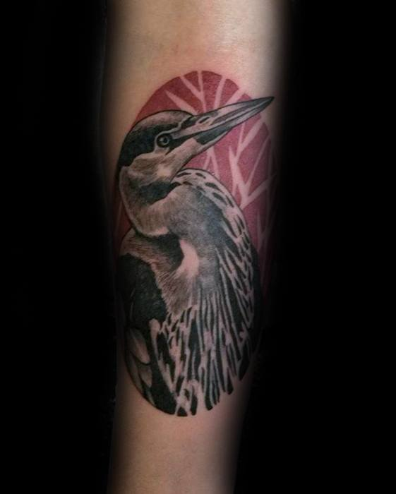 Inner Forearm Bird Heron Tattoos Male