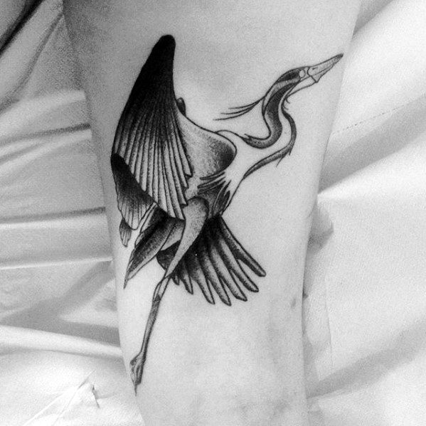 Male Cool Flying Heron Tattoo Ideas On Arm