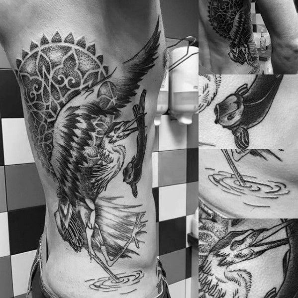 Male Rib Cage Side Tattoo With Heron Design
