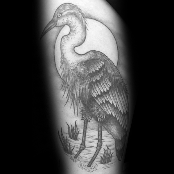 Male Thigh Shaded Heron Tattoo Ideas
