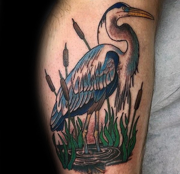 Manly Heron Tattoo Design Ideas For Men On Side Of Leg