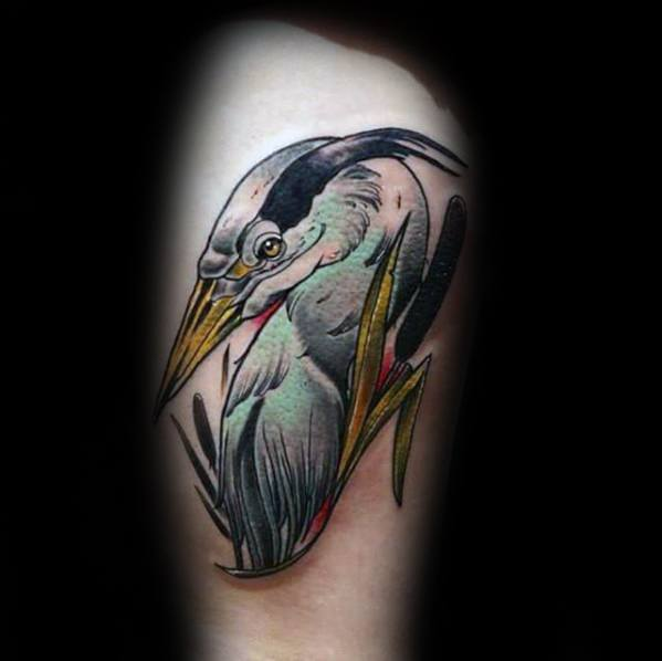 Masculine Heron Tattoos For Men On Thigh