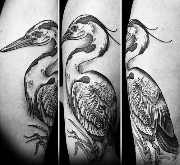 Mens Arm Tattoo With Heron Design