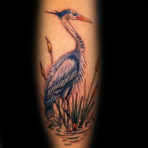 Mens Awesome Heron Tattoo Ideas On Leg