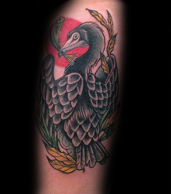 Mens Manly Old School Tradtional Arm Heron Tattoo Designs