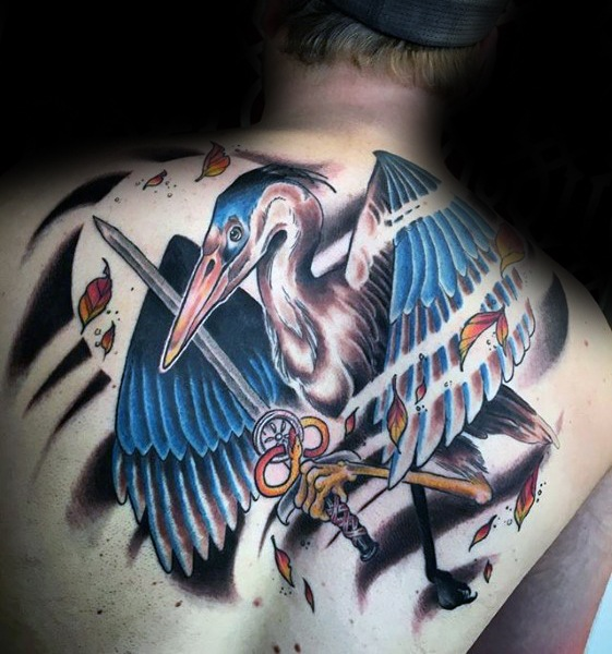 Sharp Heron Bird Male Tattoo Ideas On Back