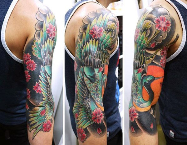 Colorful Half Sleeve Male Heron Tattoo Designs