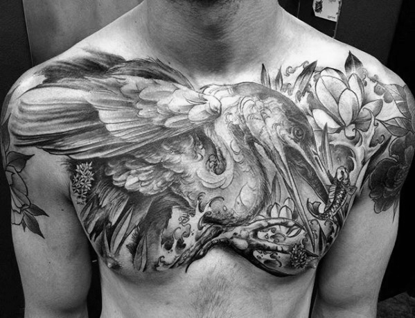 Cool Upper Chest Heavily Shaded Male Heron Tattoo Designs