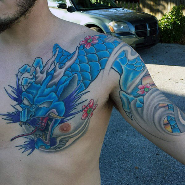 Cool Blue Quarter Sleeve Tattoo For Guys