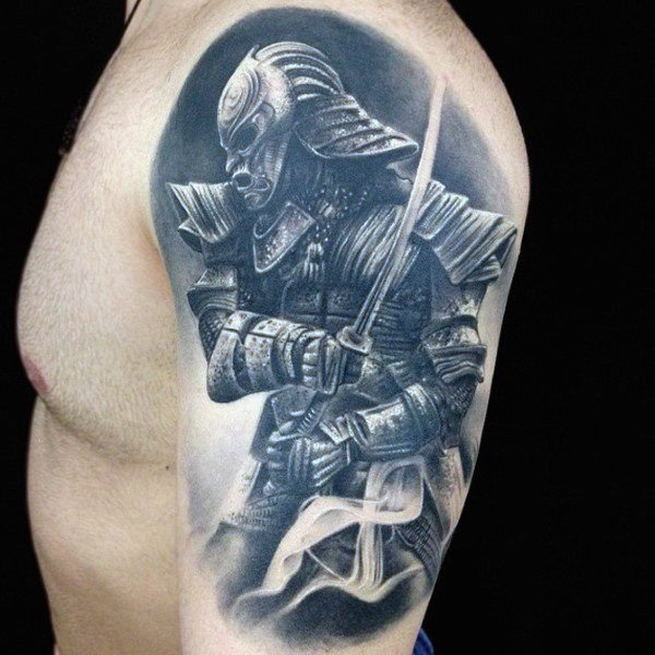 Mens Gray Viking Quarter Sleeve Tattoo