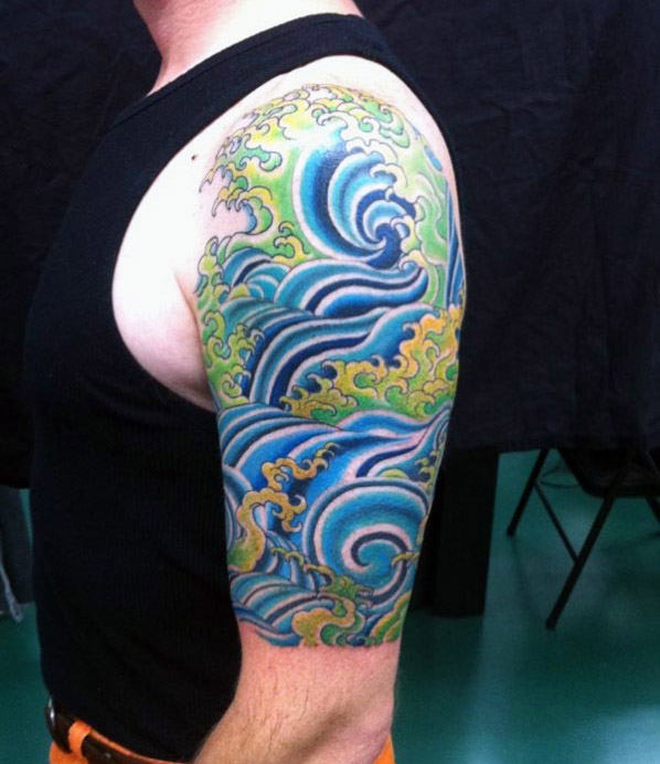 Mens Quarter Sleeve Blue And Green Tattoo