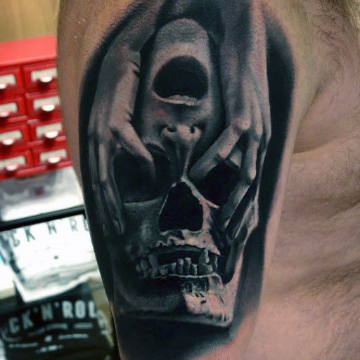 Mens Skull Quarter Sleeve Tattoo