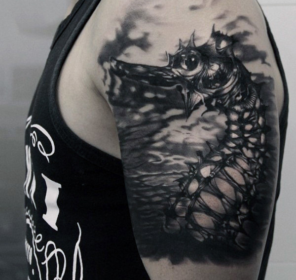 Black Dragon Dengan Paku Quarter Sleeve Tattoo For Men