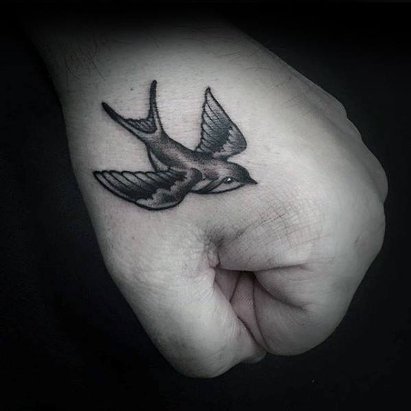 Mens Cool Flying Sparrow Simple Hand Tattoo Ideas