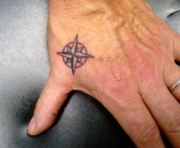 Mens Nautical Star Awesome Simple Hand Tattoo Ideas
