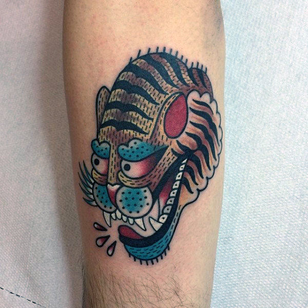 Colorful Male Traditional Tiger Forearm Tattoo Ideas