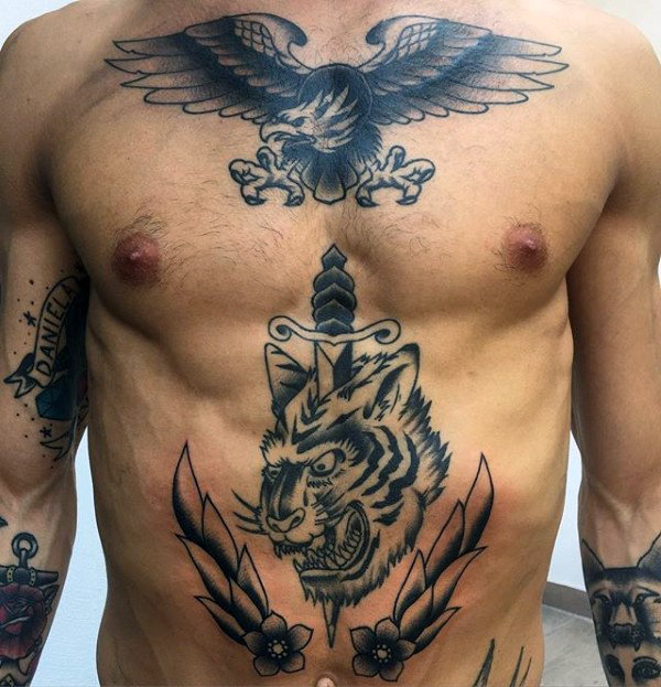 Dagger Through Tiger Mens Traditional Chest Tattoos