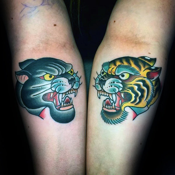 Inner Forearm Traditional Tiger And Black Panther Male Tattoos