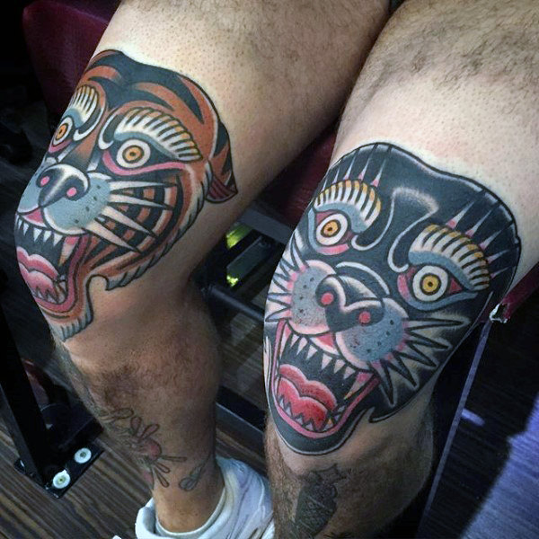 Man With Knee Tattoo Of Cool Traditional Tiger