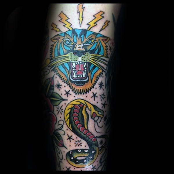 Mens Electric Tiger Traditional Arm Tattoos