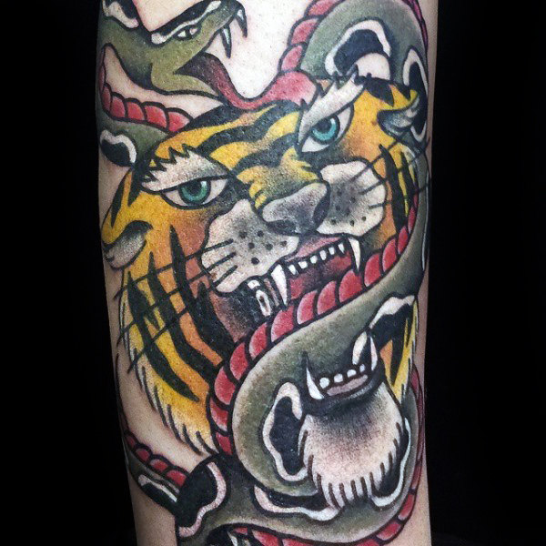 Old School Tiger With Snake Male Traditional Arm Tattoo Design Ideas