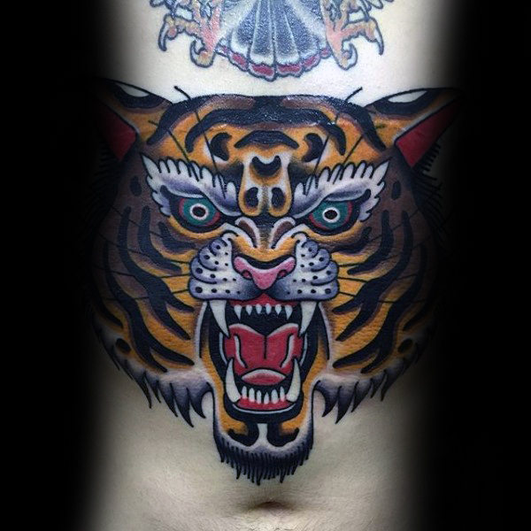 Angry Tiger Stomach Male Traditional Tattoos